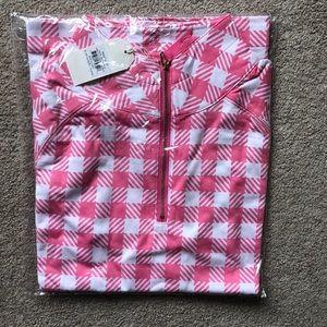 Mud pie pullover pink gingham size medium, NWT